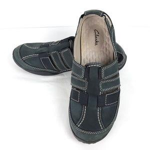 Clarks Haley Stork Black Leather Slip-On Sandal 8M